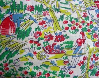 Vintage Novelty Feedsack Flour Sack Cotton Fabric // Girls Working in the Garden  // 36 x 42