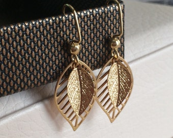Gold Leaf Earrings, Small Leaf Earrings, Dangle Earrings, Large Leaf Earrings, Gold Earrings, Filigree Leaf Earrings