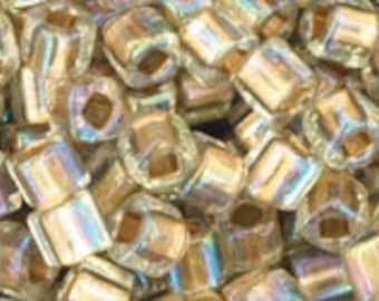TOHO - Cube 3mm  Gold-Lined Rainbow Crystal Beads 10 Grams