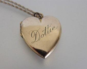 Antique 10K GF Heart Locket Monogram Necklace | Antique Etched Double Photo Heart Locket | Monogram Name Locket | Jewelry Gift for Her