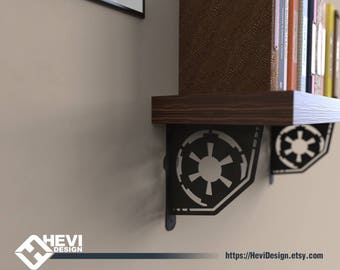 2x Galactic Empire, StarWars emblem\symbol shelf bracket (2 brackets for complete shelf mounting, without shelf)