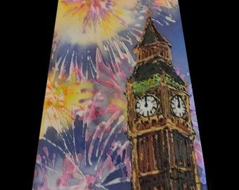 Firework painting on silk tie with your favorite town, like London, BigBen and London Eye motifs. Hand painted silk tie by SingingScarves