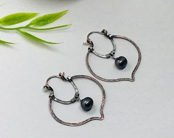 Rustic mixed metal hammered leaf hoop earring with pearl drop