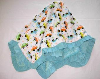 Baby Blanket Toy Cars Minky Corduroy Ruffle Medium Size Multi Aqua