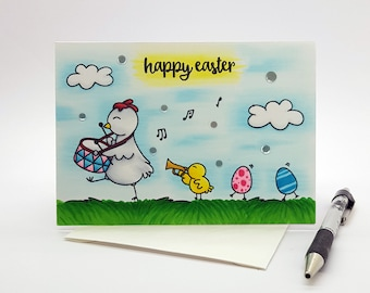 Easter card, Happy Easter card, Cute Easter card, Easter chicks card, Easter chick parade card, Easter greeting card, Easter card for kid