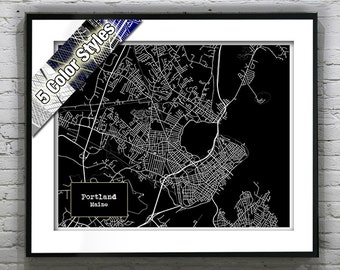 Portland maine etsy portland maine blueprint map poster art print several sizes available malvernweather Choice Image