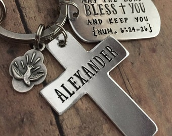 Confirmation Keychain, Confirmation Gift, Cross Key Chain, RCIA Gift, Holy Spirit, Personalized Cross, Gifts for Him, Gifts for Her
