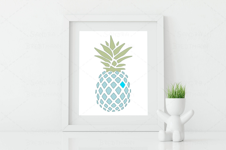 Ananas mit Herz drucken Geschenkidee Junge blau