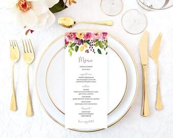 Watercolor Wedding Menu, Rustic Wedding Menu, Wedding Menu Printable, Wedding Menu Card, Wedding Menu Template, Bridal Shower Menu TFLW
