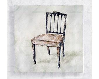Chair Art - Sheraton Chair portrait - Canvas Print on 5x5 Art Block -  Early Canadian Furniture Art Portrait -  Home Decor - Wall Art
