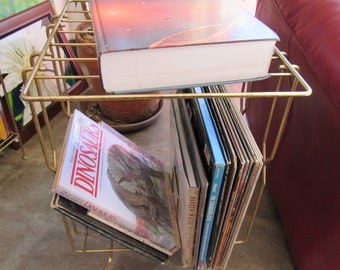 Gold Metal LP Shelf or End Table