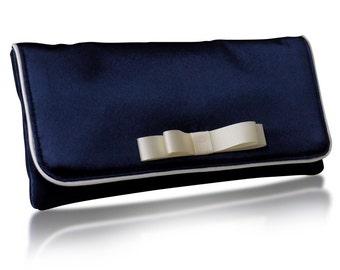Navy satin Darcy clutch purse, bridal, bridesmaids, mother of the bride