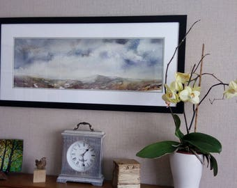 Mist, moorland and winter skies, watercolour painting, framed and mounted. collection or unframed posted