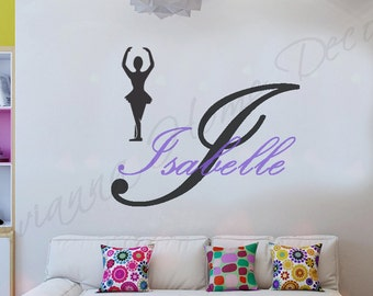 Ballerina letter art etsy custom girls name with ballerina vinyl wall decal girls room wall decor home decor art stencil solutioingenieria Image collections