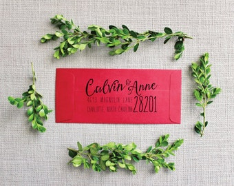 "Custom Classic-Rustic Return Address Rubber Stamp 1.5"" x 3"" OR 2"" x 4"""