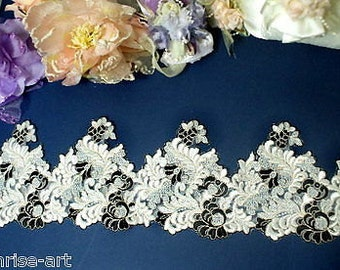 "DN555-4"" Embroidered Tulle Mesh Lace Trim by Yard"