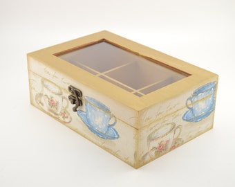 Decoupage tea box, wooden box, tea box, tea cups decoration, decoupage box, wooden tea box, shabby chic box