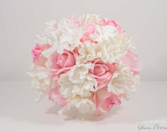 Soft Pink White Bridal Wedding Bouquet. Cream White Ivory Blush Real Touch Roses Hydrangeas, Real Touch Flowers. Caroline Rose Collection