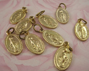 Lot of Vintage Tiny Miraculous Medal Charms Religious Medals Lot Gold Charms
