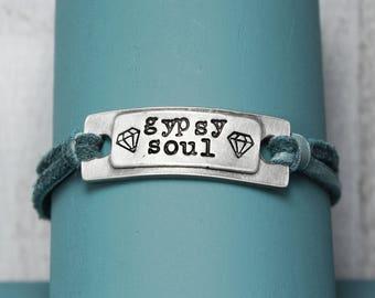 Gypsy Soul Bracelet, Leather Bracelet, Leather Boho Bracelet, Inspiration Bracelet, Boho Bracelet, Hand Stamped Bracelet,