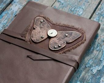 Steampunk Journal, Butterfly Journal, Steampunk Leather Journal, Steampunk Butterfly, Handmade Leather Journal