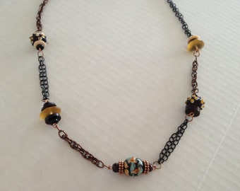 Antique Ceramic and Glass Mix Metal Chain Necklace
