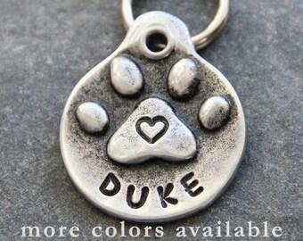 Dog Tag Custom Dog Tags Handstamped Dog ID Tag Dog Mom Pug Paw Print Heart Dog Collar Identification Tag Hand Stamped
