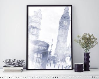 London Phone Booth, Big Ben Watercolour Print Wall Art | 4x6 5x7 A4 A3 A2