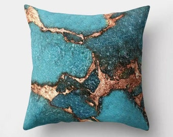Turquoise & Gold Jewelled Gem Stone Effect Cushion 46x46cm complete with high quality cushion pad