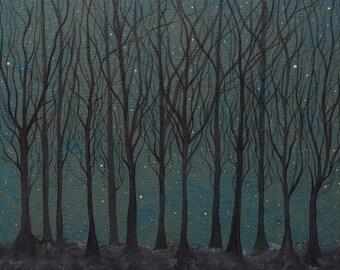 The Hare ran through Starlit Woods Archival Art print - Ethereal/Whimsical Art/Winter/Forest/Stars/Art Gift/Hares