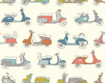 ORGANIC Cotton Fabric Mopeds Multi on Cream from Birch Fabrics Trans-Pacific Collection by Jay-Cyn Vintage Mod Scooter Vehicles