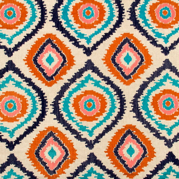 Navy Blue And Orange Upholstery Fabric Embroidered Turquoise