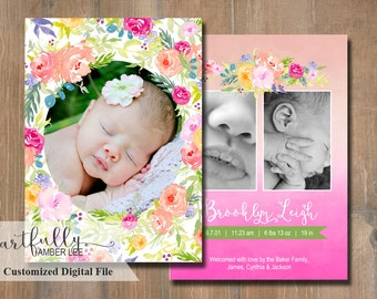 Girl Birth Announcement | Watercolor Flowers | DIY Printable | Custom Photo Card