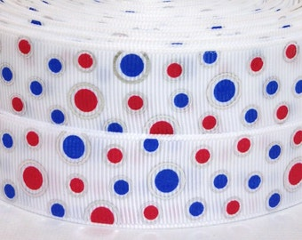 "1"" White with Red and Blue Dots Grosgrain Ribbon 3 yards - 1"" Patriotic Ribbon - 4th of July Ribbon - Blue Red and White Grosgrain Ribbon"