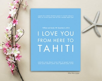 Tahiti Wedding Sign, Personalized Gift Idea for Couple, Shown in Light Blue - Custom Text/Colors - Engagement Anniversary Gift