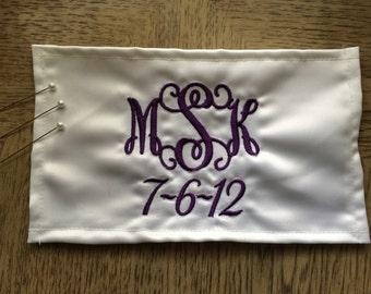 Wedding Bridal Flower Bouquet Wrap with Monogram