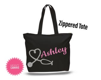 Nurse Graduation Gift, Nurse Appreciation Gift, LPN gifts, Personalized Tote Bag with Zipper