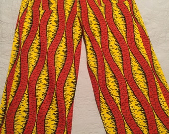 African print high waisted pants