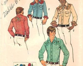 1970s Simplicity 6693 Vintage Sewing Pattern Men's Western Shirt, Cowboy Shirt, Casual Shirt Size 38-40, Size 42