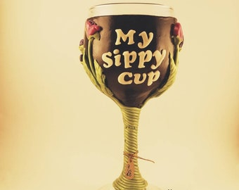 My Sippy Cup Polymer Clay wine glass {letters glow in the dark}