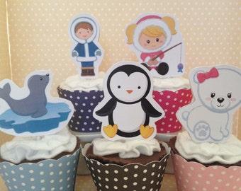 Eskimo, Arctic Animals, North Pole Party Cupcake Topper Decorations - Set of 10
