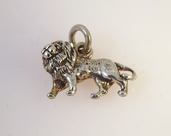 Sterling Silver 3-D African Male LION with Mane Charm Pendant .925 Sterling Silver 925 New an18