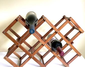 Vintage Accordion Wood Wine Rack, Foldable, Collapsible Wine Bottle Holder, Boho Decor, Bar Storage