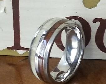 REG 399.00 - 8mm Natural Deer Antler Ring with Hawaiian Koa Wood Inlay - Womens Wedding Ring Titanium Hunter Ring Band, unisex, Mothers Day
