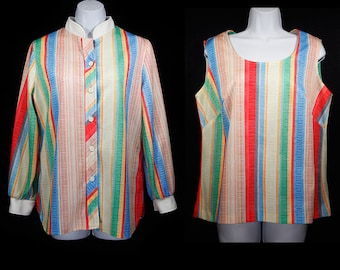 10 DOLLAR SALE---Vintage 70's 2 Piece Set Multicolor Striped Jacket & Tank Top L