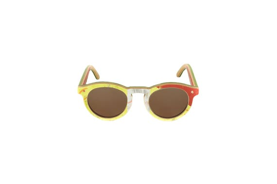 skateboard recycled sunglasses BOWL shape ! Yellow red brown color #madeinfrance