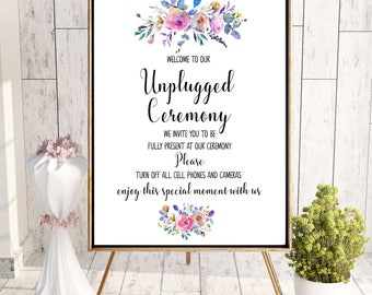 No Phones Sign Unplugged Ceremony Sign lilac Printable Unplugged Wedding Sign  No Cameras Sign No Cell Phone Sign Wedding rustic decor idw82