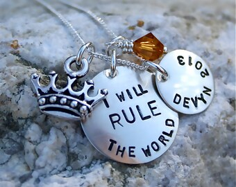 Inspirational-Personalized-Graduation Jewelry/Sterling Rule The World Necklace with Birthstone and Crown - great graduation gift