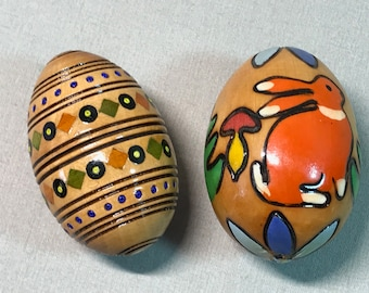 Decorated Wood Eggs Set of Two