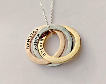 Personalised linked circles necklace - rose gold necklace - name necklace - triple ring necklace, gift for her mum sister wife, interlocking
